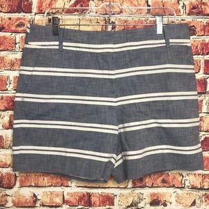 Loft NWT Blue Chambray White Striped Shorts